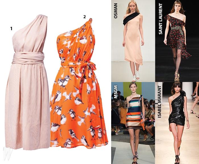 1. 잔잔한 줄무늬 패턴의 코튼 소재 드레스는 에르메스 제품. 가격 미정.2. 앙증맞은 새 프린트가 담긴 실크 드레스는MSGM by갤러리아 웨스트2F제품.1백20만원