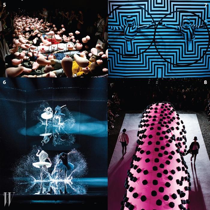 5.2007년 봄/여름 컬렉션인 'The Wet Shiny Boobies'.6.오슬로 오페라하우스에서 공연된발레 '백조의 호수'를 위해 디자인한 의상들.7.작품집인 <Henrik Vibskov>(2012) 출간 즈음에기획된 퍼포먼스.8.2013년 봄/여름 컬렉션인 'The Transparent Tongue'.