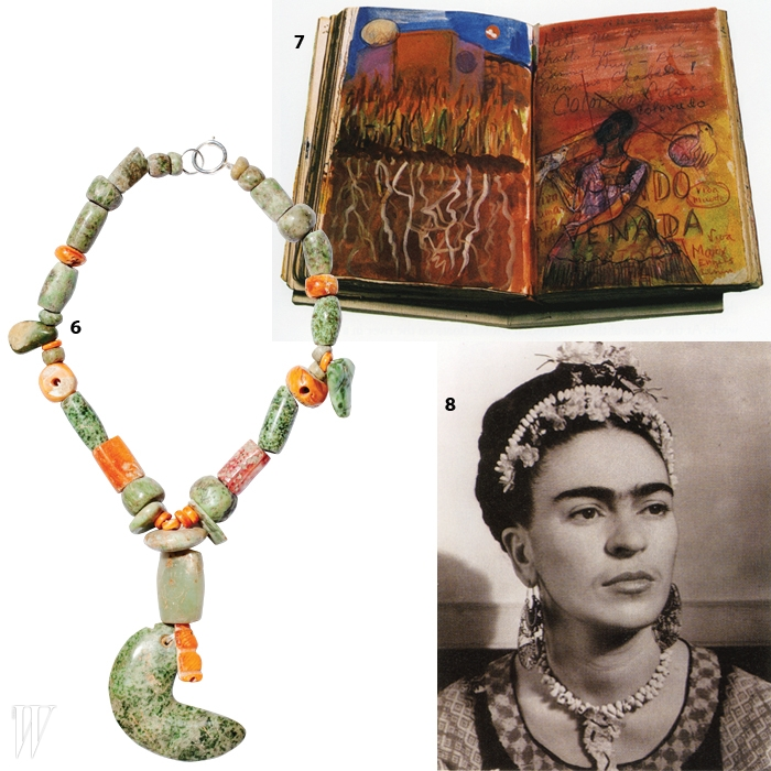 6. 갤러리 피아룩스가 주관하는 국내<프리다 칼로> 전시를 통해 선보일 그녀의 목걸이들.7. 프리다 칼로가 스케치한 다이어리의 한 페이지.8. 주얼리에 대한 애정이 돋보이는프리다 칼로의 포트레이트