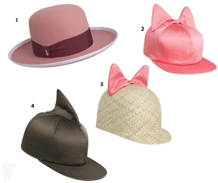 1. 클래식한 디자인의페데리카 모레티F/W 시즌 모자.2,3,4. 로맨틱한 보와쇼킹한 상어 모티프로눈길을 끈페데리카 모레티의S/S 시즌 모자들.
