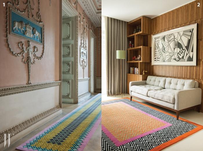 1. 클래식한공간을 생동감 넘치게바꿔주는 조너선선더스의 러너.2. 1970년대풍의공간과도 잘 어울리는조너선 선더스의 카펫.