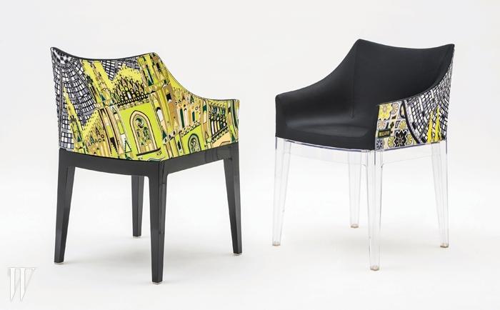 절제된 색 사용이감각적인 에밀리오푸치의 밀라노 프린트와만난 카르텔 마담 체어.