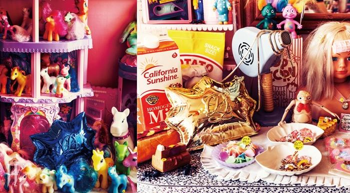 귀여운 캐릭터 속에 숨어 있는 뾰족한 형태의 가방은루이까또즈 제품. 가격 미정.