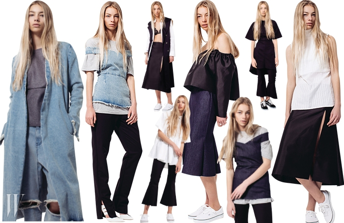 티셔츠와 셔츠, 데님 등기본적인 아이템을센슈얼하고 모던하게소화하는 방법을 제안하는조지아 앨리스의 룩.