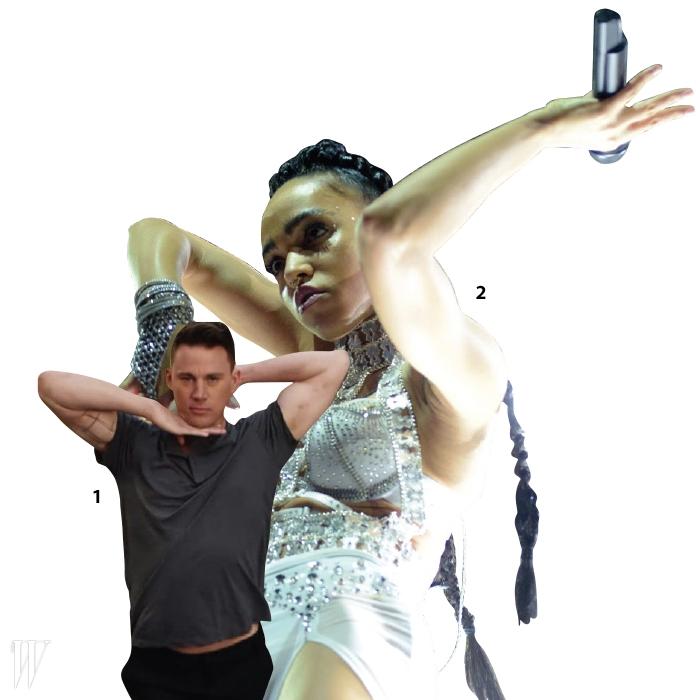 1 댄서이기도 했던 배우 채닝 테이텀이잡지 와의 인터뷰영상에서 보그 동작을 선보이고 있다.2 보깅의 새로운 유행을이끌고 있는 뮤지션 에프케이에이트위그스(FKA Twigs).
