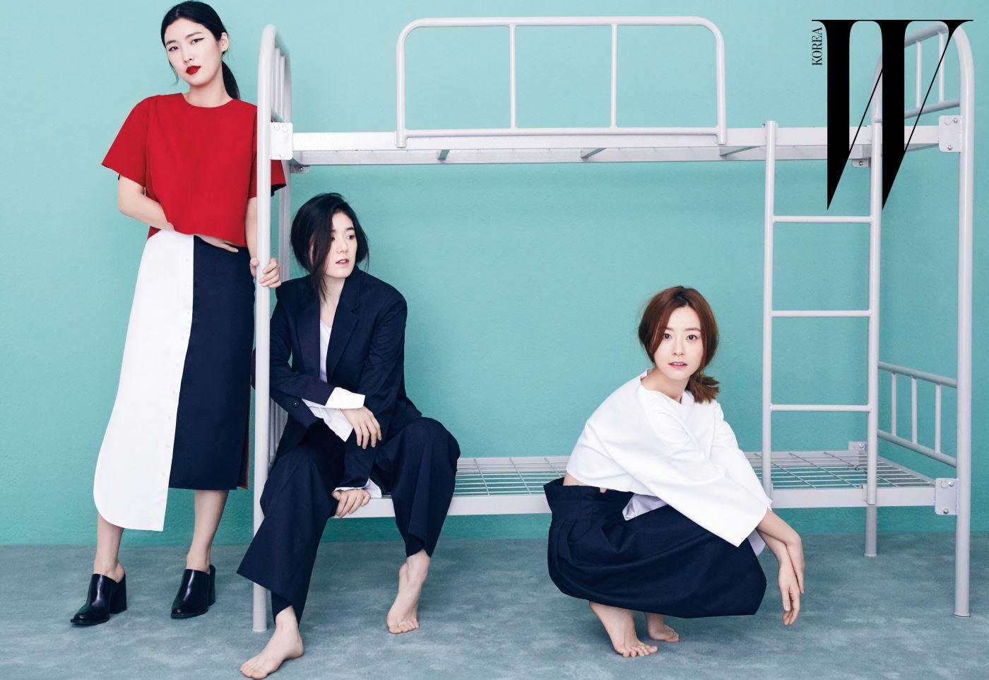 왼쪽부터 디자이너 정지연, 배우 정은채, 배우 정유미. 의상은 모두 2016 S/S 렉토.