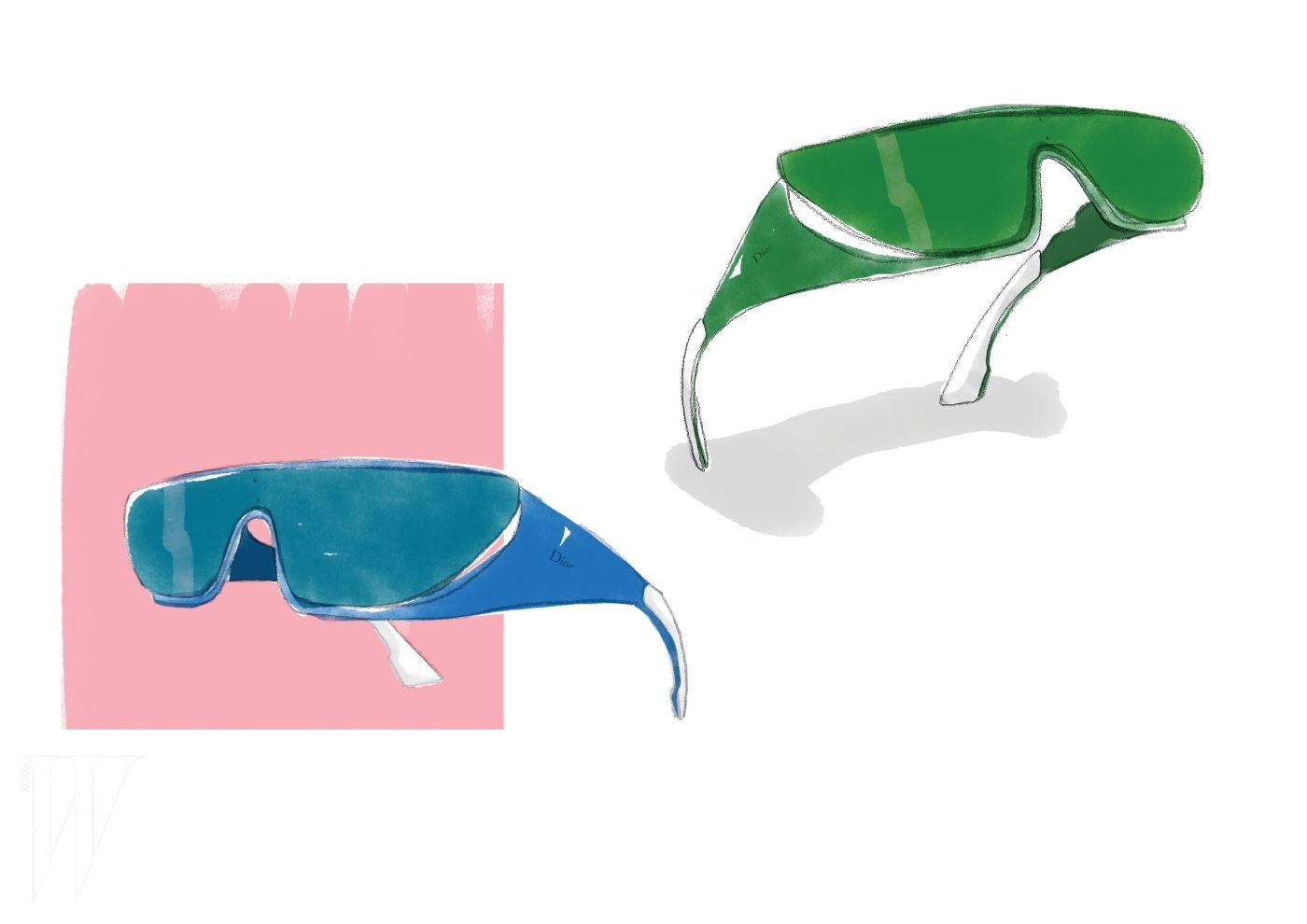다양한 색상의 리한나 선글라스 일러스트.