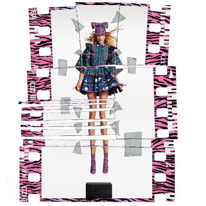 장 폴 구드 특유의 작업 방식을 통해 이미지를 위트 있게 재배열한 H&M의 겐조 캠페인. 배우 클로에 세비니를 비롯해 총 7명의 다채로운 인물이 참여했다