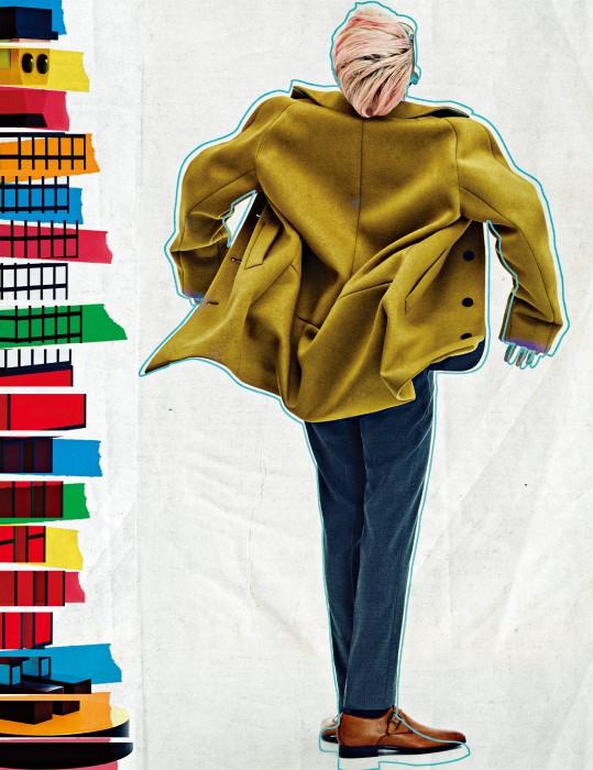 톤 다운된 연두색 싱글 버튼 코트와 회색 슈트, 밝은 회색 셔츠, 진한 회색 타이, 구두는 모두 Hugo Boss 제품.
