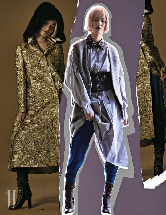 금색 브로케이드 코트는 프라다 제품. 가격 미정. 라펠의 스터드가 특징인 셔츠 원피스는 J.W. 앤더슨 by 분더샵 제품. 90만원대. 니트 베스트는 아크네 제품. 1백49만원. 벨트와 뷔스티에, 아가일 무늬 워머는 모두 프라다 제품. 가격 미정. 니트 소재 트랙 팬츠는 포츠 1961 제품. 가격 미정. 스트랩 슈즈는 지미추 제품. 가격 미정.