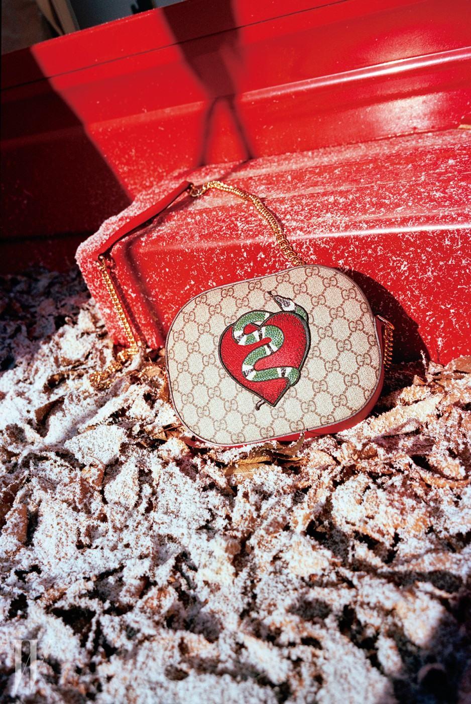 뱀 모양 패치를 장식한 홀리데이 컬렉션 탬버린 백은 구찌 제품. 1백53만원.