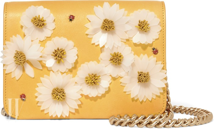 SINATRA Calfskin leather foldover shoulder bag w allover daisy applique front and silver chain ss