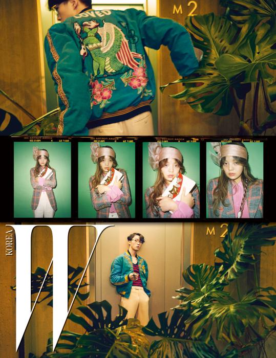 유리가 입은 용과 꽃 자수가 담긴 초록색 보머 재킷, 줄무늬 티셔츠, 베이지색 팬츠, 안경과 반지, 경현이 입은 체크 재킷과 핑크빛 셔츠 블라우스, 베이지색 팬츠, 핑크 헤드피스와 여우 펜던트 장식의 백은 모두 Gucci 제품.