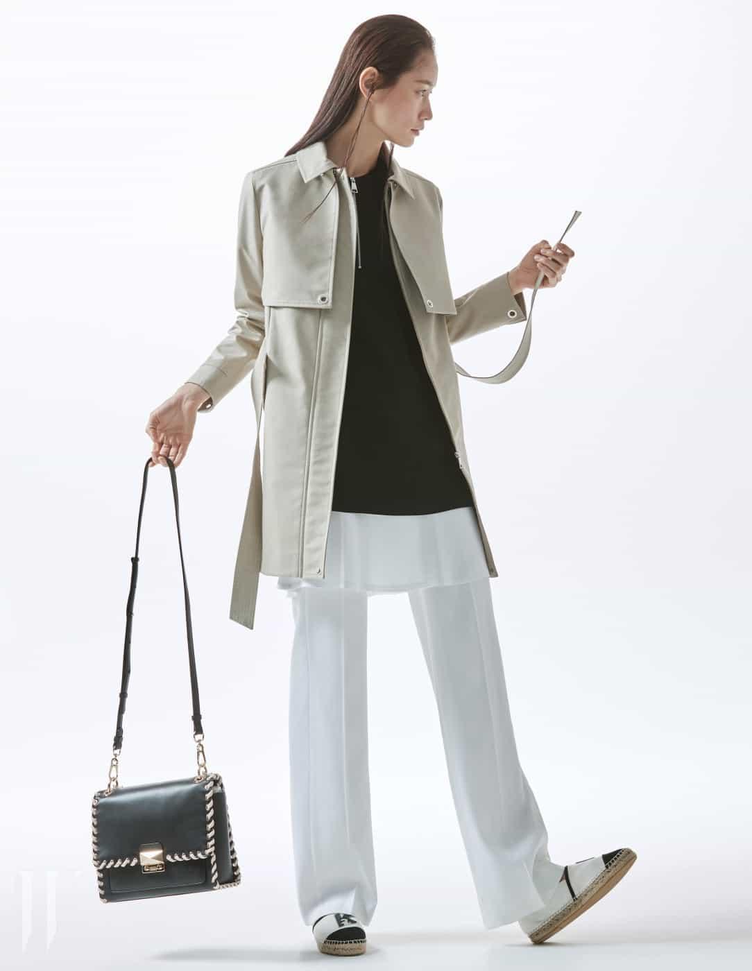 스티치 장식의 소가죽 소재 윕스티치 핸드백(Whipstitch Handbag), 구조적인 디자인의 지퍼 여밈 트렌치코트, 주름 장식의 미니 드레스, 흰색 팬츠, 로고 장식의 에스파드리유는 모두 Karl Lagerfeld 제품.