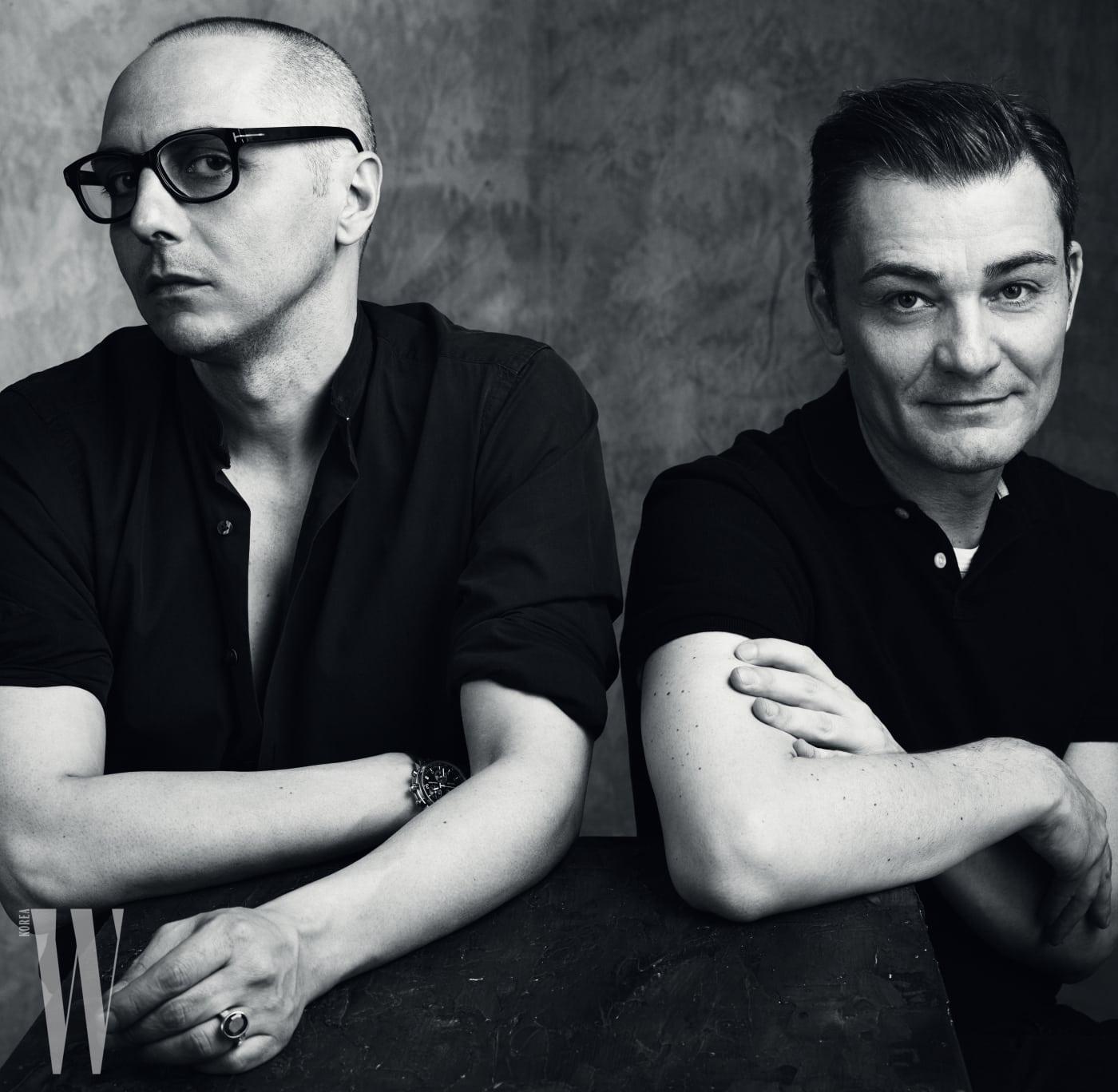 아퀼라노 리몬디와 페이를 이끌며 이탤리언 패션의 다채로운 멋을 보여주는 디자이너 듀오, 토마소 아퀼라노(좌)와 로베르토 리몬디(우).