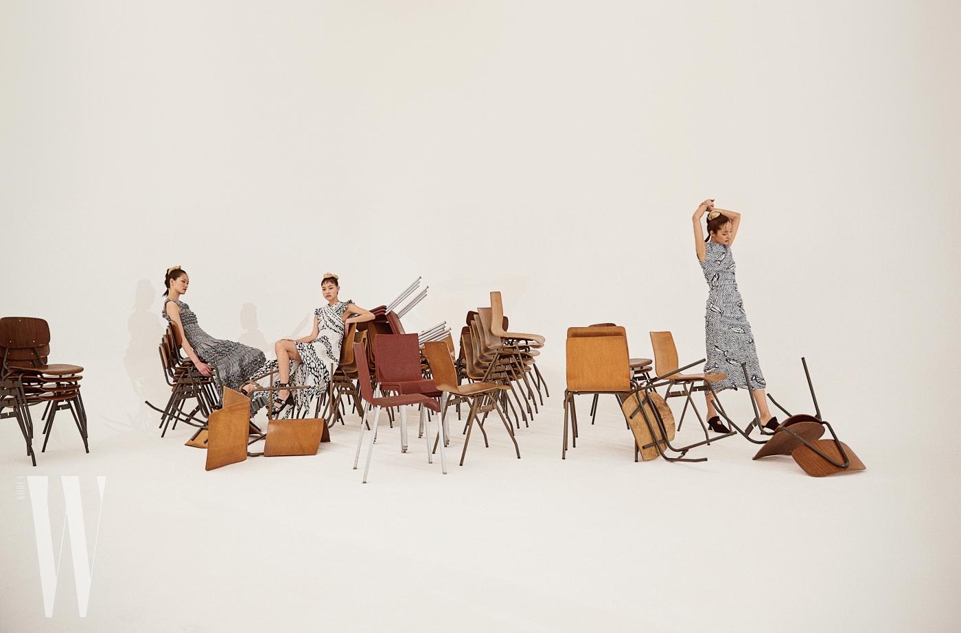왼쪽부터ㅣ퐁리가 입은 드레스는 Molly Goddard by Boon the Shop, 징징이 입은 프린트 드레스는 Proenza Schouler, 슈즈는 Lucky Chouette, 곽지영이 입은 물결무늬 드레스, 슈즈는 모두 Sportmax 제품.