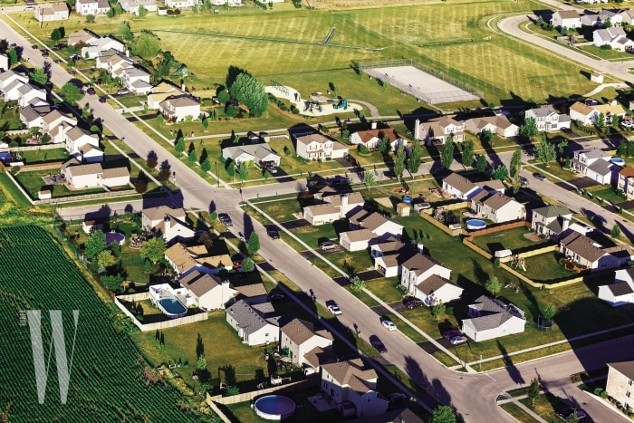 Aerial View of New Houses in Northern Illinois. Town Houses in new development.