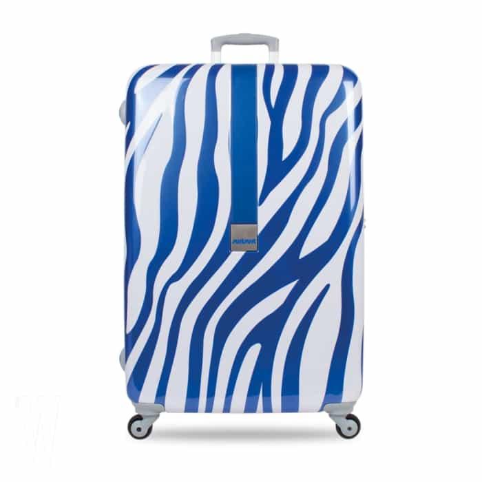 2 파란빛을 입은 강렬한 얼룩무늬 프린트 러기지는 부드럽게 굴러가는 82년 전통의 히노모토 바퀴를 장착했다. 수잇수잇 제품. 28인치, 25만8천원.