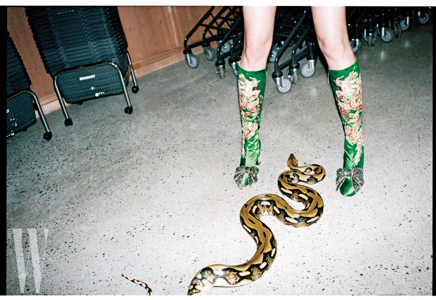 용무늬 자수와 발등의 리본 장식 스톤이 특징인 초록색 부츠는 구찌 제품. 4백15만원.