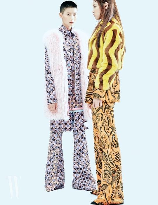 수민이 입은 셔츠와 재킷, 팬츠와 그 위로 레이어드한 스커트, 같은 패턴의 슈즈, 그리고 몽골리안 퍼 베스트는 모두 지방시 제품. 모두 가격 미정. 앨리스가 입은 벨벳 소재 더블브레스트 재킷과 부츠컷 팬츠는 에밀리오 푸치 제품. 3백70만원, 2백30만원. 패턴이 더해진 퍼 쇼트 코트는 블루마린 제품. 2천9백80만원.