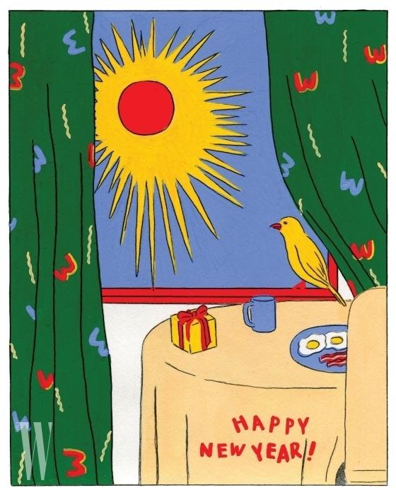 새해 아침의 상쾌함이 느껴지는 그림에 'W' 로고로 커튼을 장식해 협업의 의미를 더한 키미앤드12 카드.