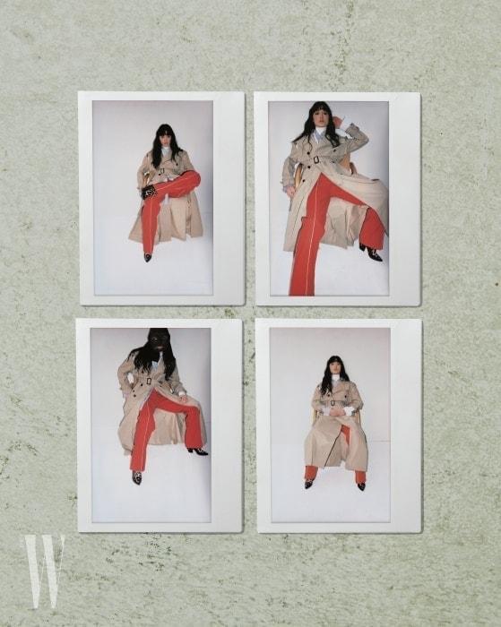 컷아웃트렌치코트와팬츠는Valentino, 니트터틀넥과줄무늬셔츠, 레오퍼드패턴부츠는Louis Vuitton 제품.