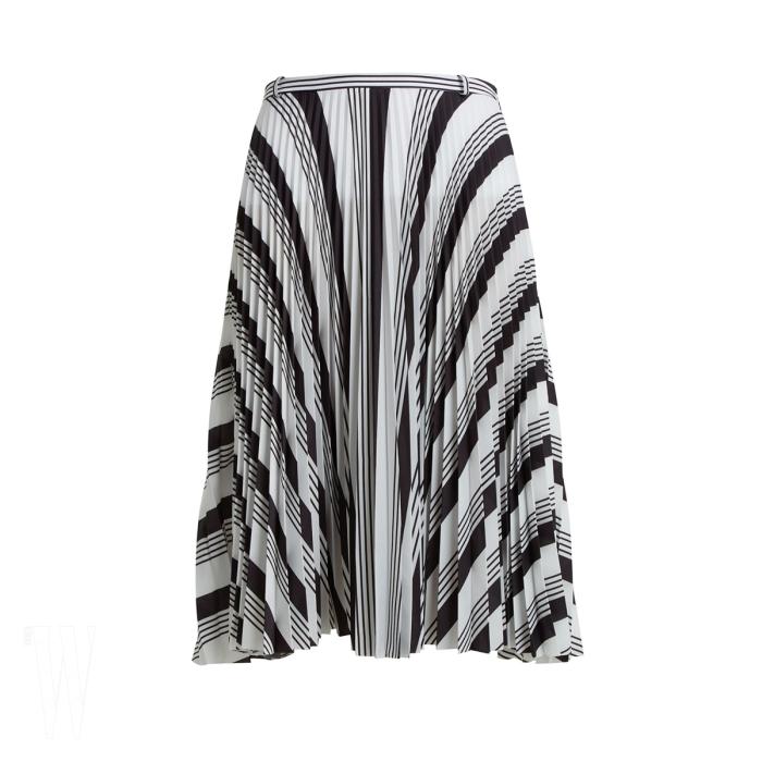 BALENCIAGA 줄무늬 주름 스커트는 발렌시아가 제품. 2백50만원대.