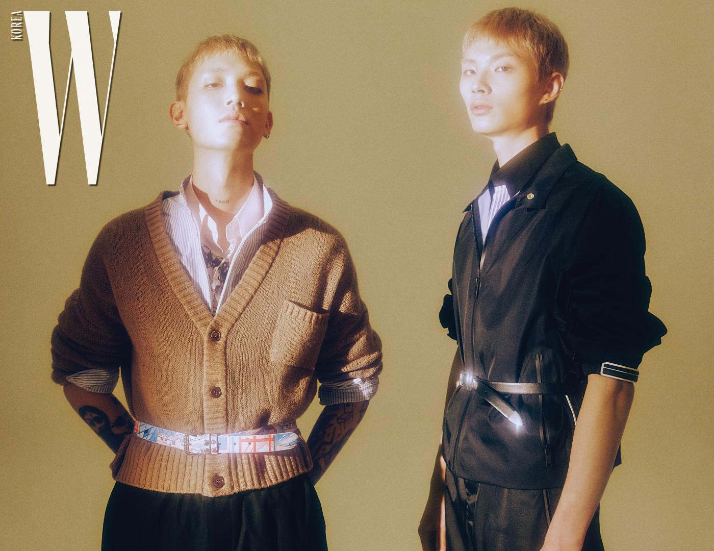 주영이 입은 셔츠, 카디건, 벨트, 주노가 입은 재킷, 셔츠, 팬츠, 벨트는 모두 프라다 제품.
