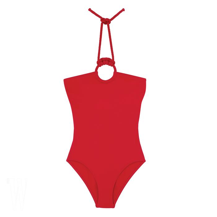 HERMES 타이 장식 홀터넥 수영복은 에르메스 제품. 가격 미정.