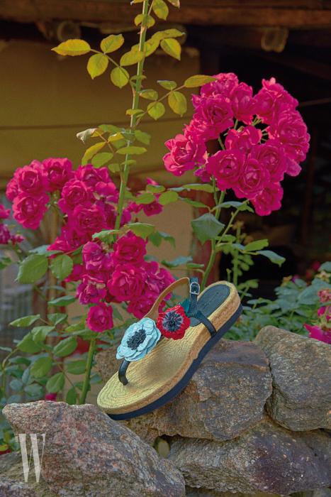 꽃잎을 장식한 샌들은 소니아 리키엘 제품. 80만원대.