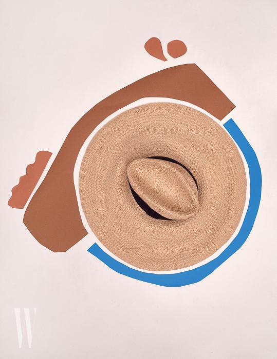 넓은 챙이 특징인 바캉스 무드의 모자는 H&M 제품. 2만5천원.