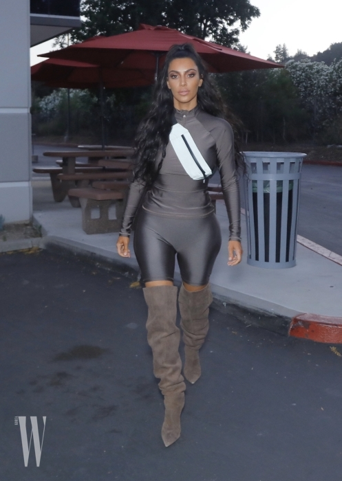 EXCLUSIVE: Kim Kardashian shows off another possible Yeezy look as she is seen around Calabasas, CA
