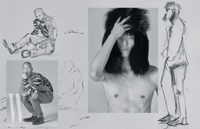 레오퍼드와 줄무늬 패턴이 섞인 니트 소재 터틀넥과 가죽 팬츠, 지퍼 장식 앵클부츠는 모두 Givenchy 제품. 풍성한 퍼 소재의 트루퍼 햇은 Saint Laurent by Anthony Vaccarello 제품.