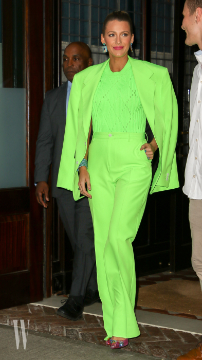 Blake Lively Spotted In A Lime Pantsuit In New York