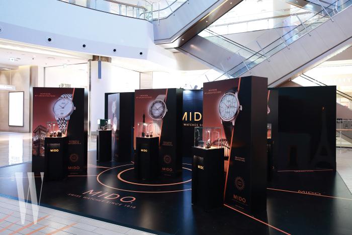 미도의 100주년을 기념한 서울 전시. 모던존에는 100주년 기념 에디션과 오늘날 브랜드를 대표하는 아이코닉 워치를 전시했다