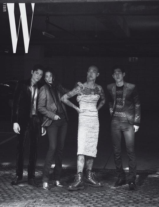 왼쪽부터ㅣ니키타가 입은 벨벳 슈트, 골드 셔츠, 타이, 슈즈는 모두 Saint Laurent by Anthony Vaccarello 제품. 티아나가 입은 글리터링 재킷, 셔츠, 블랙 진은 모두 Saint Laurent by Anthony Vaccarello, 슈즈는 Jimmy Choo, 귀고리는 Joomi Lim 제품. 다니엘 오가 입은 드레스는 Miu Miu, 모노그램 레이스업 워커는 Louis Vuitton, 귀고리는 Joomi Lim 제품. 케빈이 입은 재킷, 니트 톱, 블랙 진, 부츠는 모두 Saint Laurent by Anthony Vaccarello 제품.