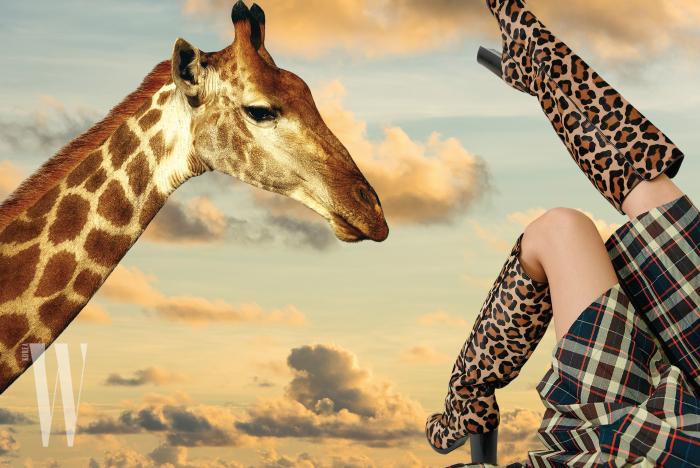 송치 가죽 소재 레오퍼드 부츠는 마이클 코어스 제품. 2백39만원.